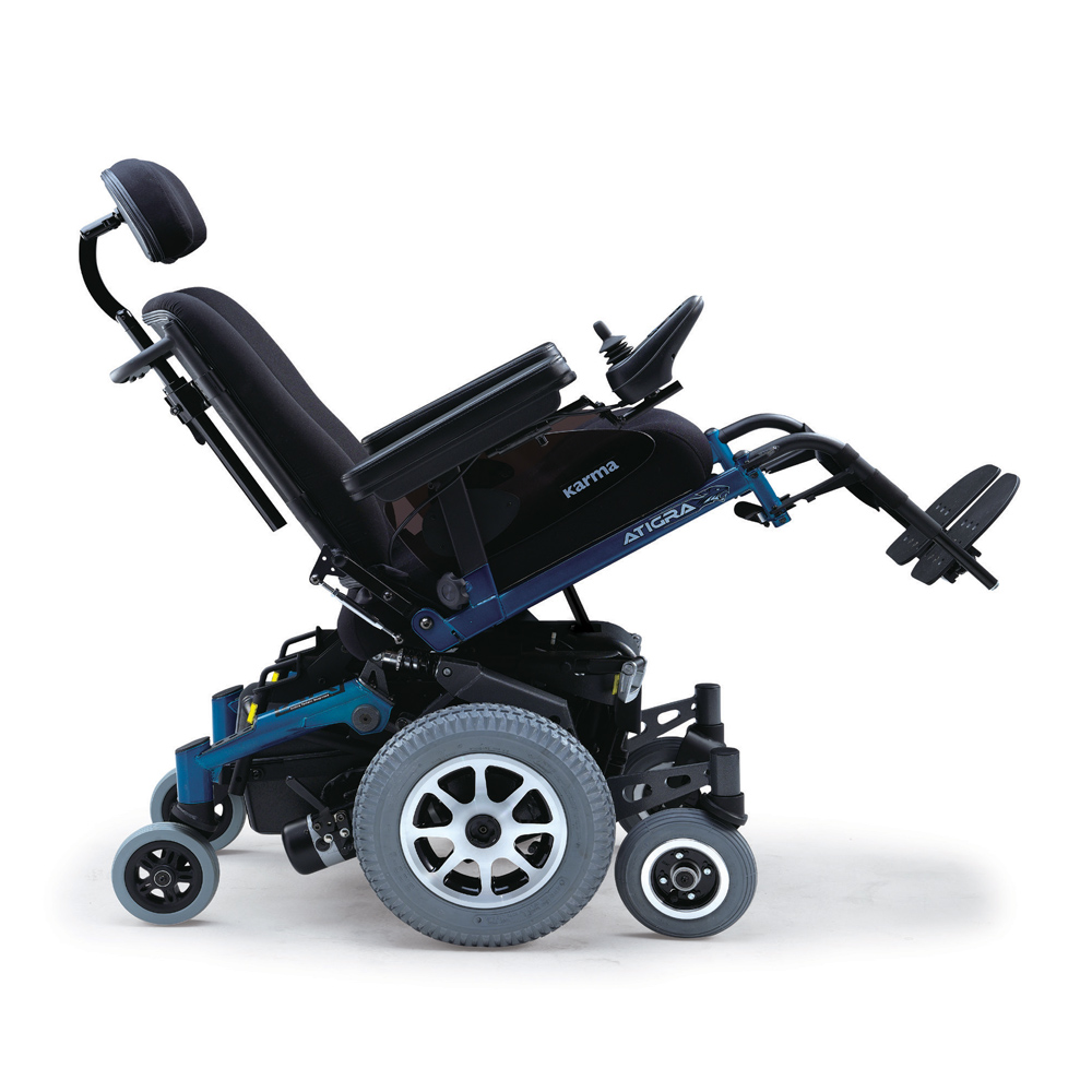 Atigra 1.1 power wheelchair side view reclining