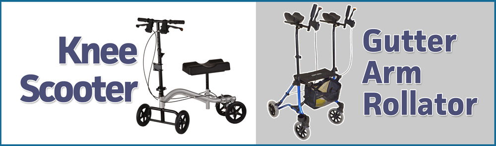 New Mobility Walkers – Knee Scooter & Gutter Arm Rollator!