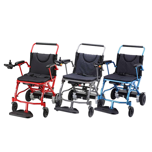 Fold and Go P113 foldable electric wheelchair all three colours